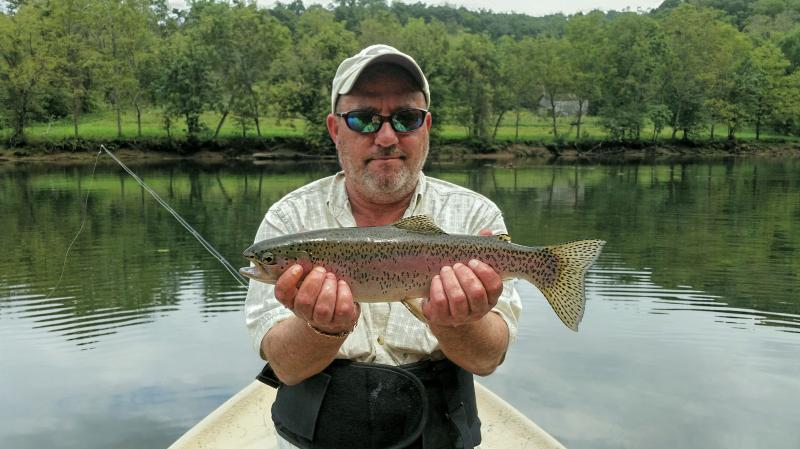 Super trophy rainbow trout from east Tennessee tailwater guide service.