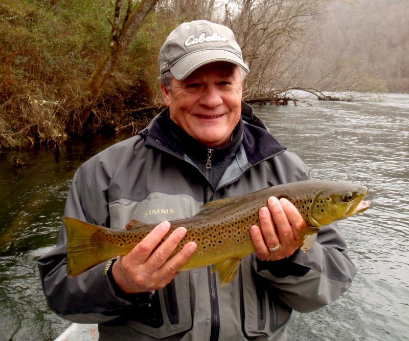 Trophy Class Brown Trout Caught with Knoxville Area Fly Fishing Guide Rocky Cox