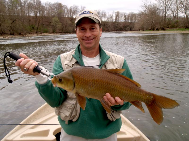Fly fishing for carp in Tennessee from a driftboat