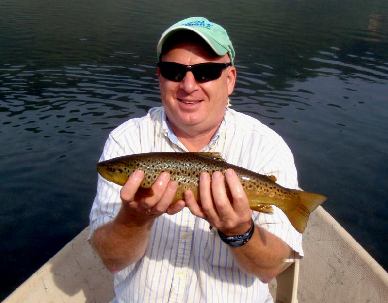 Quality brown trout caught on fine tippet by a Signal Mountain Angler
