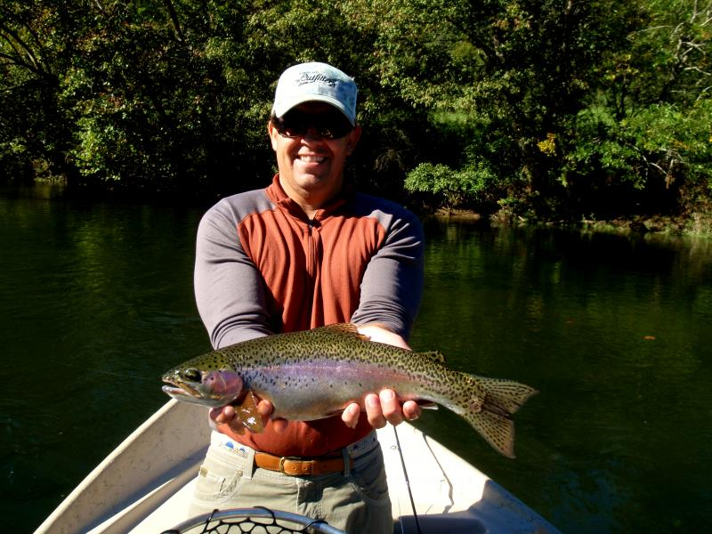 Beautiful rainbow trout caught on a tennessee trophy tailwater.