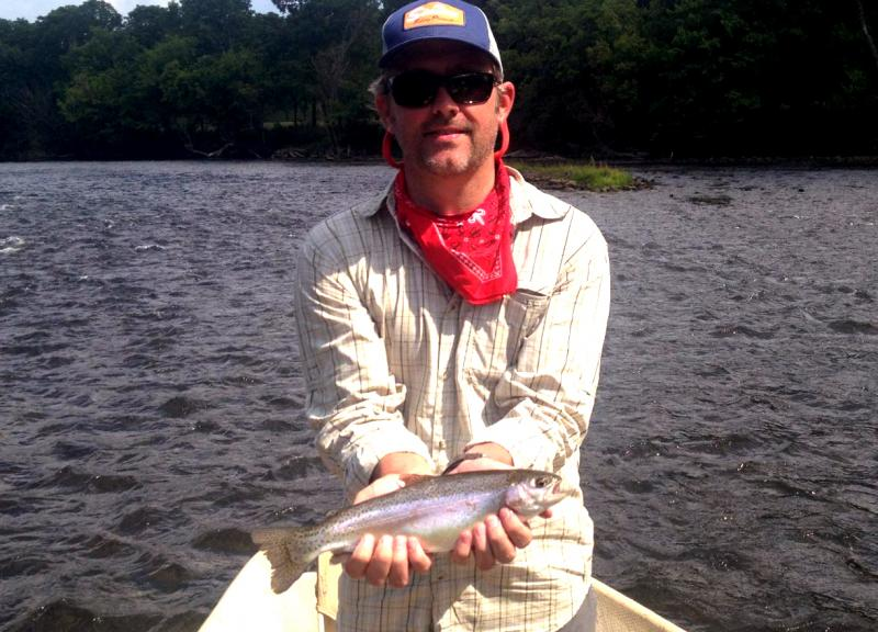 Trophy rainbow trout caught with a fly rod and with 6x tippet.