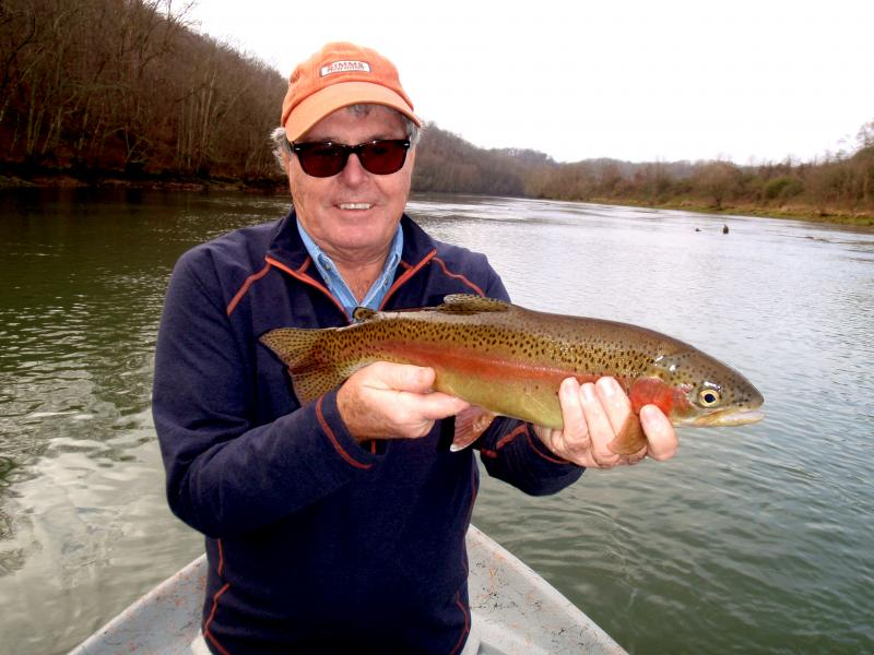 Trophy class rainbow trout caught with Clinch River Guide Service Rocky Cox