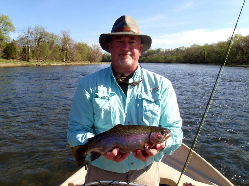 Trophy rainbow trout in east Tennessee on a TVA tailwater drift boat.