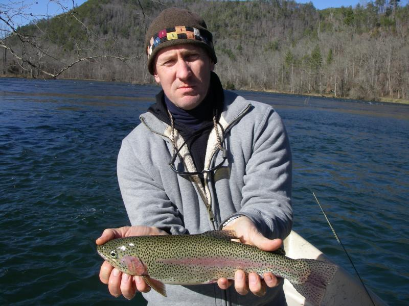 Large rainbow trout from tennessee tailwaters fly fishing guide