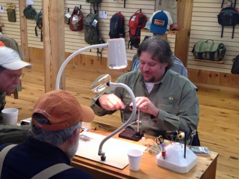 Free fly tying demonstrations at Little River Outfitters, Townsend TN.