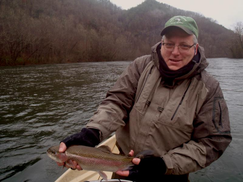 Kevin G. shows off a Rainbow Trout on the Hiwassee River.