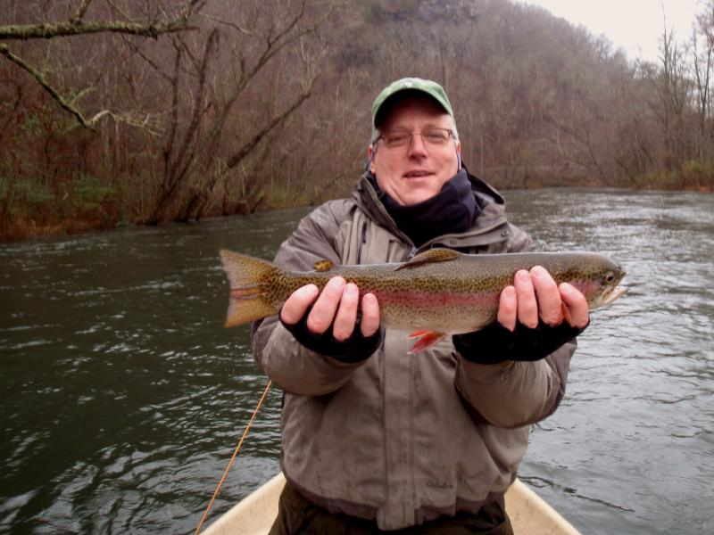 "Kevin and a 19"" Hiwassee River Rainbow Trout. Fly Fishing Trout."