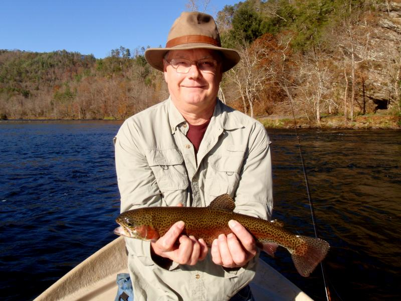 "A beautiful 17"" rainbow from the Hiwassee River Delayed Harvest"