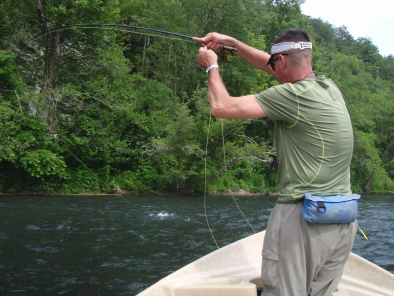 Breck D. stinging an isonychia eating rainbow with Rocky Top Anglers Hiwassee