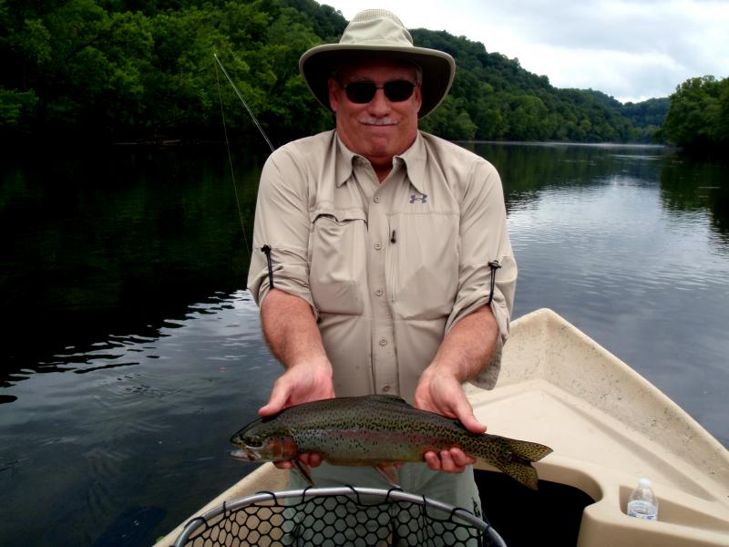 A nice Clinch River Rainbow Trout Using a driftboat and Hopper