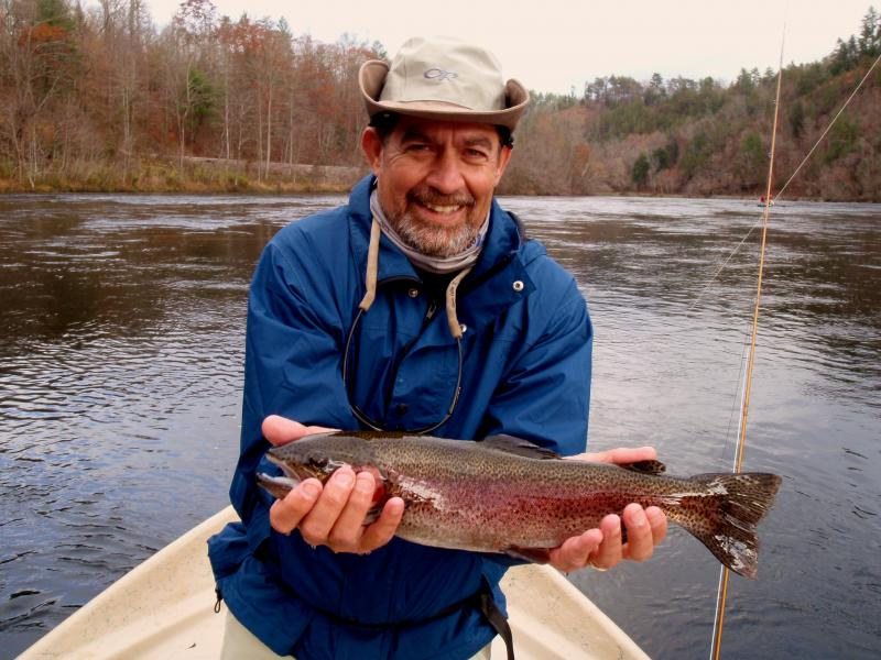 A nice Hiwassee River Rainbow Trout Caught with Guide Rocky COx