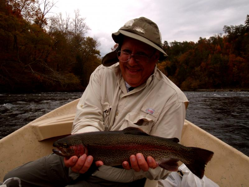 Pete S. and a very healthy rainbow trout. Great Job Pete!