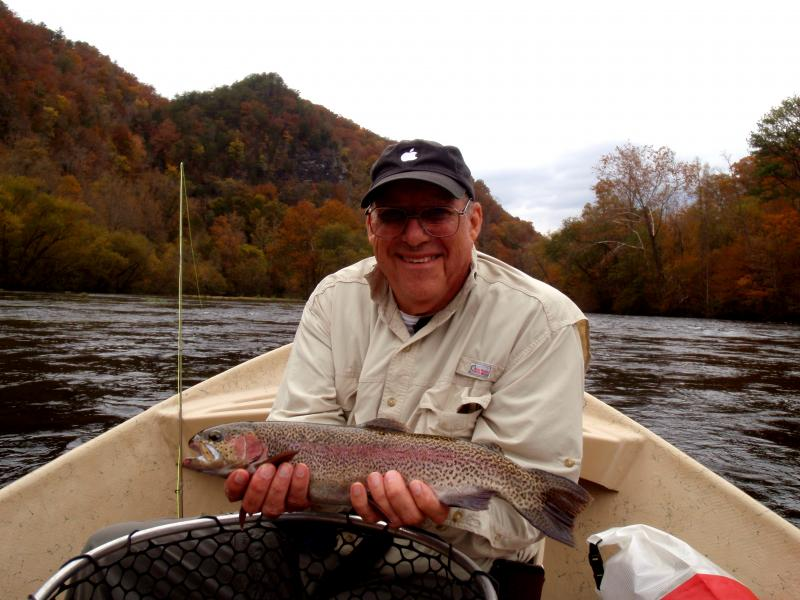 Rocky Top Anglers guide Rocky Cox helped Pete S. land this fish on a dry fly.