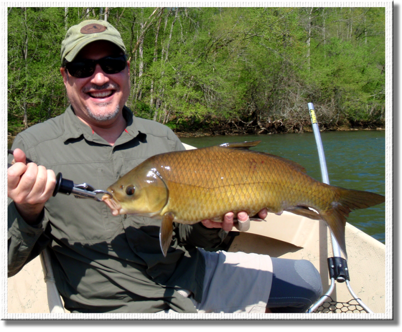 Large Carp caught on a fly rod by famous RTA client RB.