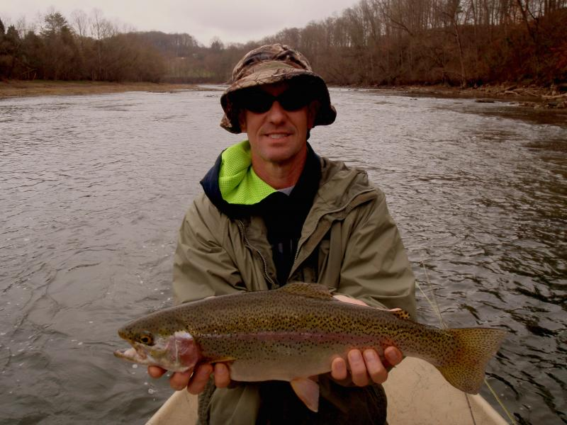 Trophy tailwater trout in Tennessee Holston River with Knoxville Fly guide