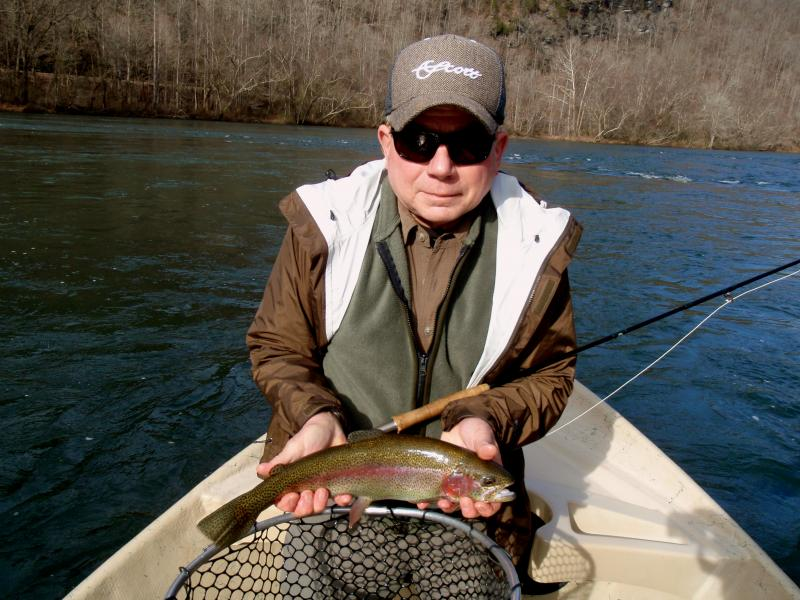 "Tommy Hall and a beautiful 18"" inch Hiwassee River Rainbow Trout"