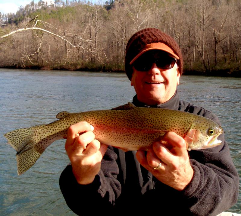 Vance with a gorgeous Hiwassee Delayed Harvest Rainbow.