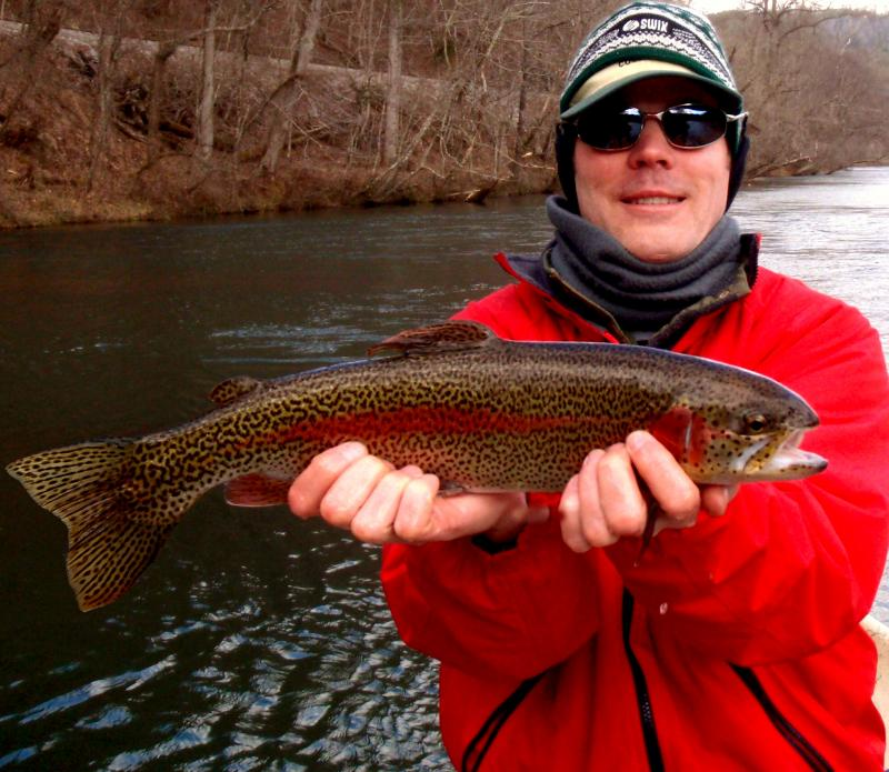 John J. and his beautiful trophy rainbow trout from the Hiwassee DH.