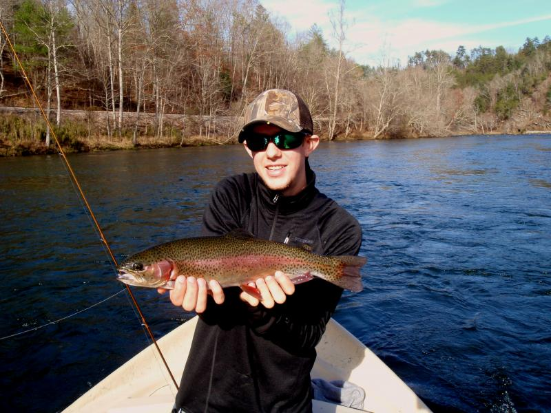 Trophy rainbow trout from the Hiwassee River with Rocky Cox.